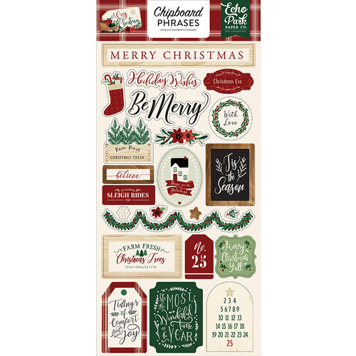 Echo Park - A Cozy Christmas Collection - Chipboard Stickers - Phrases