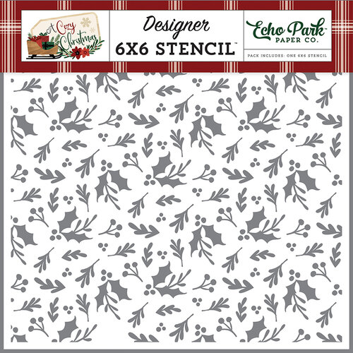 Echo Park - A Cozy Christmas Collection - 6 x 6 Stencil - Christmas Greenery