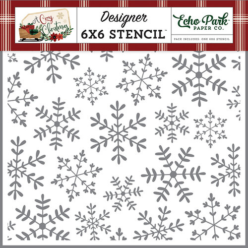 Echo Park - A Cozy Christmas Collection - 6 x 6 Stencil - Cheerful Snowflakes