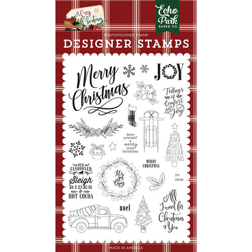Echo Park - A Cozy Christmas Collection - Clear Photopolymer Stamps Set - Let