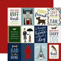 Echo Park - A Dog's Tail Collection - 12 x 12 Double Sided Paper - 3 x 4 Journaling Cards