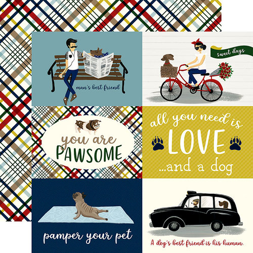 Echo Park - A Dog's Tail Collection - 12 x 12 Double Sided Paper - 4 x 6 Journaling Cards