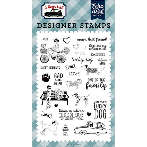 Echo Park - A Dog's Tail Collection - Clear Acrylic Stamps - Lucky Dog