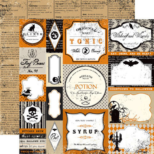 Echo Park - Apothecary Emporium Collection - Halloween - 12 x 12 Double Sided Paper - Apothecary Labels