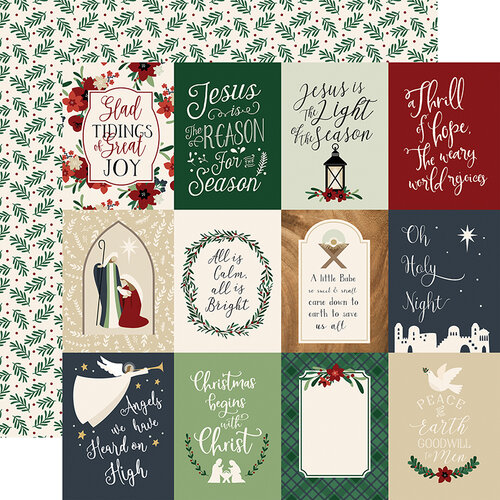 Echo Park - Christmas - Away In A Manger Collection - 12 x 12 Double Sided Paper - 3 x 4 Journaling Cards
