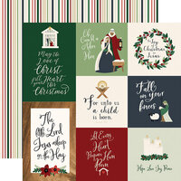 Echo Park - Christmas - Away In A Manger Collection - 12 x 12 Double Sided Paper - Journaling Cards