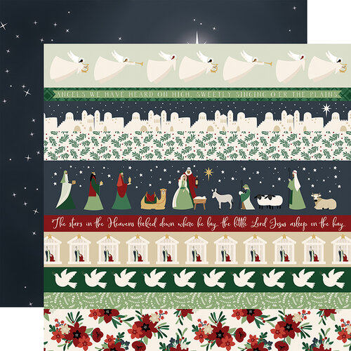 Echo Park - Christmas - Away In A Manger Collection - 12 x 12 Double Sided Paper - Border Strips