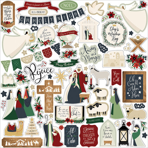 Echo Park - Christmas - Away In A Manger Collection - 12 x 12 Cardstock Stickers - Elements