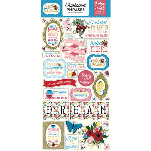 Echo Park - Alice in Wonderland Collection - Chipboard Stickers - Phrases