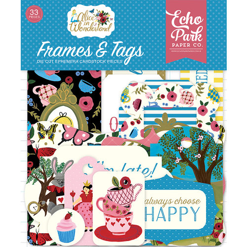 Echo Park - Alice in Wonderland Collection - Ephemera - Frames and Tags