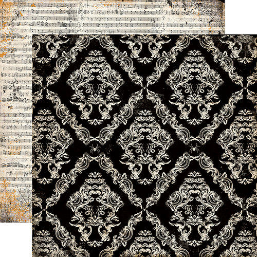 Echo Park - Arsenic and Lace Collection - 12 x 12 Double Sided Paper - Large Damask