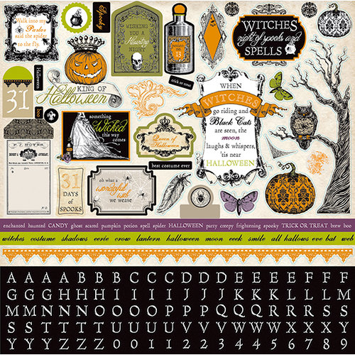 Echo Park - Arsenic and Lace Collection - 12 x 12 Cardstock Stickers - Elements