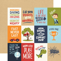Echo Park - All Boy Collection - 12 x 12 Double Sided Paper - 3X4 Journaling Cards
