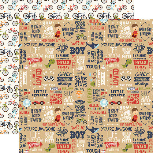 Echo Park - All Boy Collection - 12 x 12 Double Sided Paper - That's My Boy