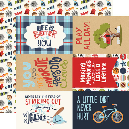 Echo Park - All Boy Collection - 12 x 12 Double Sided Paper - 4X6 Journaling Cards