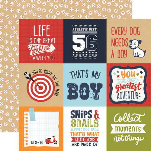 Echo Park - All Boy Collection - 12 x 12 Double Sided Paper - 4X4 Journaling Cards