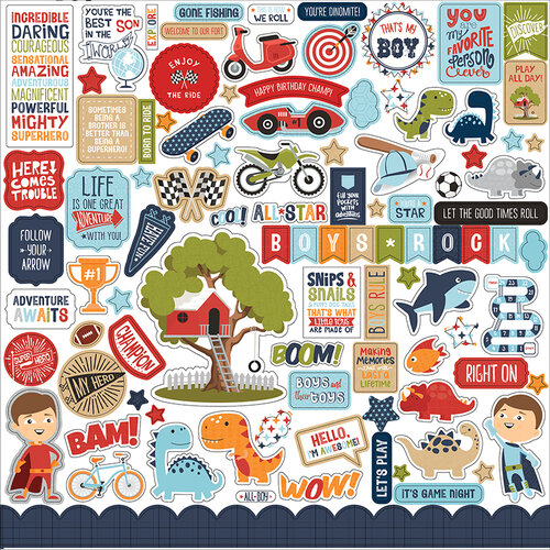 Echo Park - All Boy Collection - 12 x 12 Cardstock Stickers - Elements