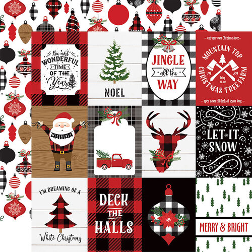 Echo Park - A Lumberjack Christmas Collection - 12 x 12 Double Sided Paper - 3 x 4 Journaling Cards