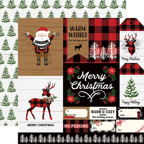 Echo Park - A Lumberjack Christmas Collection - 12 x 12 Double Sided Paper - Multi Journaling Cards