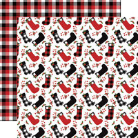 Echo Park - A Lumberjack Christmas Collection - 12 x 12 Double Sided Paper - Stockings