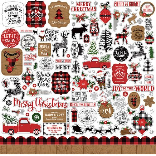 Echo Park - A Lumberjack Christmas Collection - 12 x 12 Cardstock Stickers - Elements