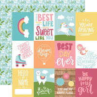 Echo Park - All Girl Collection - 12 x 12 Double Sided Paper - 3 x 4 Journaling Cards