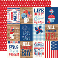 Echo Park - America Collection - 12 x 12 Double Sided Paper - 3 x 4 Journaling Cards