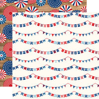 Echo Park - America Collection - 12 x 12 Double Sided Paper - Independence Banners