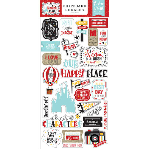 Echo Park - A Magical Place Collection - Chipboard Embellishments - Phrases
