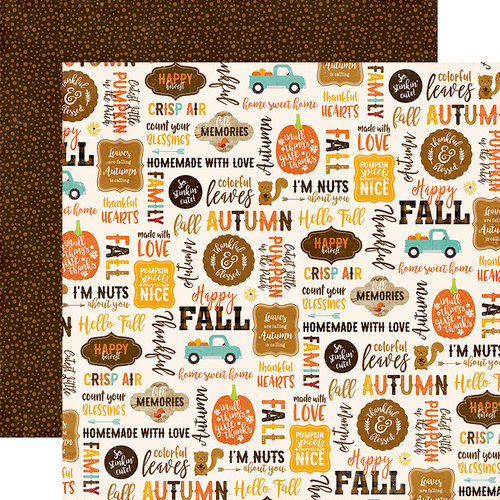 Echo Park - A Perfect Autumn Collection - 12 x 12 Double Sided Paper - Happy Harvest