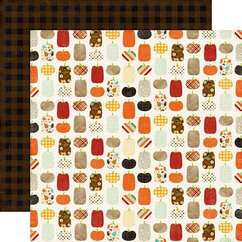 Echo Park - A Perfect Autumn Collection - 12 x 12 Double Sided Paper - Pumpkin Patch