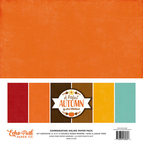 Echo Park - A Perfect Autumn Collection - 12 x 12 Paper Pack - Solids