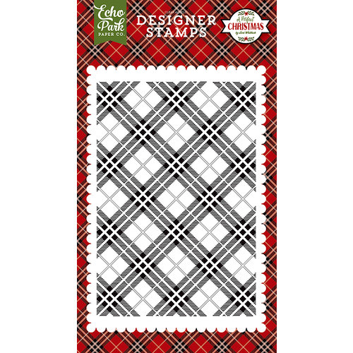 Echo Park - A Perfect Christmas Collection - Clear Acrylic Stamps - Holiday Plaid