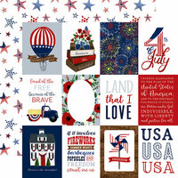 Echo Park - America The Beautiful Collection - 12 x 12 Double Sided Paper - 3 x 4 Journaling Cards
