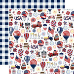 Echo Park - America The Beautiful Collection - 12 x 12 Double Sided Paper - Land Of The Free