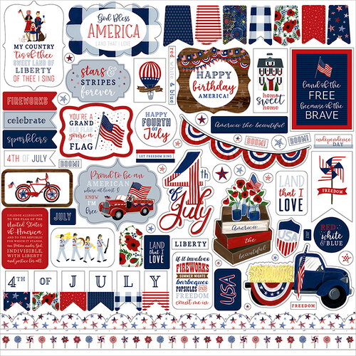 Echo Park - America The Beautiful Collection - 12 x 12 Cardstock Stickers - Elements