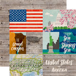 Echo Park - Around The World Collection - 12 x 12 Double Sided Paper - United States
