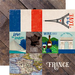 Echo Park - Around The World Collection - 12 x 12 Double Sided Paper - France