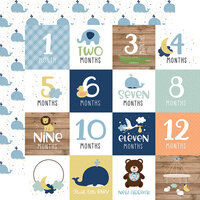 Echo Park - Baby Boy Collection - 12 x 12 Double Sided Paper - Milestone Cards