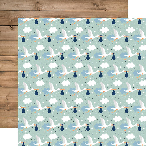 Echo Park - Baby Boy Collection - 12 x 12 Double Sided Paper - Welcome Baby Boy