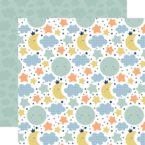 Echo Park - Baby Boy Collection - 12 x 12 Double Sided Paper - Moon and Stars