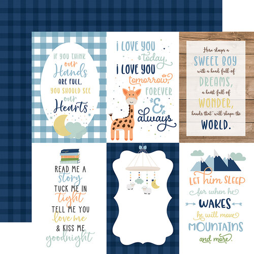 Echo Park - Baby Boy Collection - 12 x 12 Double Sided Paper - 4 x 6 Journaling Cards