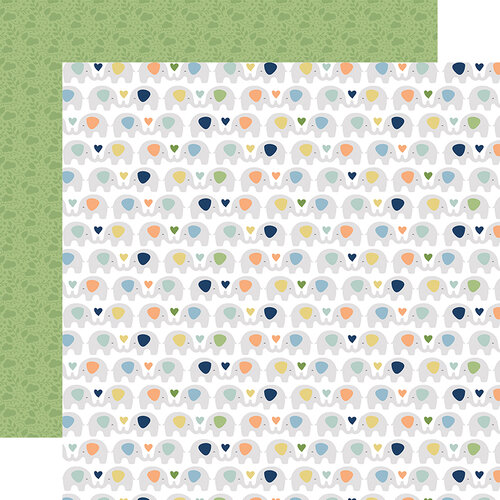 Echo Park - Baby Boy Collection - 12 x 12 Double Sided Paper - Elephants