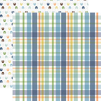 Echo Park - Baby Boy Collection - 12 x 12 Double Sided Paper - Newborn Plaid
