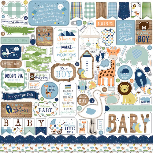 Echo Park - Baby Boy Collection - 12 x 12 Cardstock Stickers - Elements