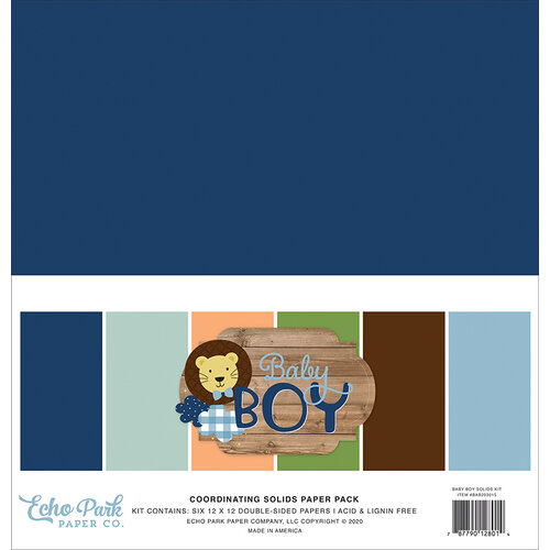Echo Park - Baby Boy Collection - 12 x 12 Solids Paper Pack