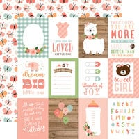 Echo Park - Baby Girl Collection - 12 x 12 Double Sided Paper - 3 x 4 Journaling Cards