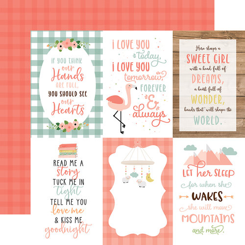 Echo Park - Baby Girl Collection - 12 x 12 Double Sided Paper - 4 x 6 Journaling Cards