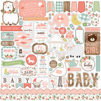 Echo Park - Baby Girl Collection - 12 x 12 Cardstock Stickers - Elements