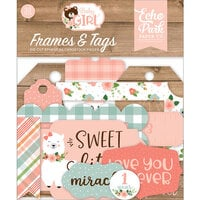Echo Park - Baby Girl Collection - Ephemera - Frames and Tags